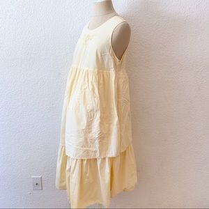 Vintage 80s Maternity Dress Yellow A Line Pockets
